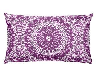 Plum Pillow, Decorative Throw Pillow, 20x12 Lumbar Pillow, Purple and White Mandala Design Rectangle Cushion