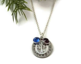 Personalized, Family Tree Necklace, Tree of Life, Swarovski Crystals, Gifts for Mom, Gifts for Her, Hand Stamped Necklace, Christmas Gift
