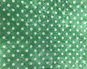 Green & white polka dot fabric, cotton fabric, coordinating fabric, dots, green fabric