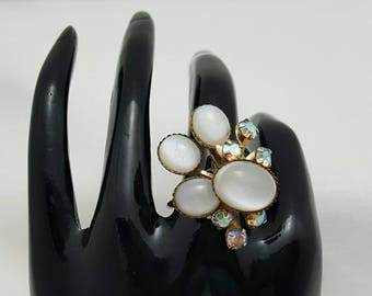 White Glass Cab Ring