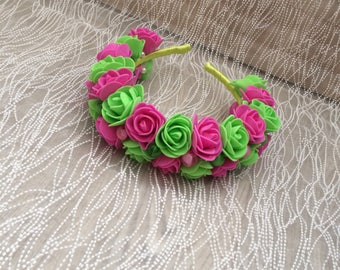 Floral handmade headband with fuchsia and light green roses. For special occassions wedding party hen party and birthday