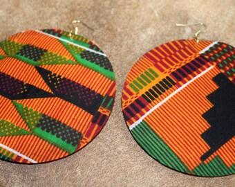 Kente fabric earrings (large)