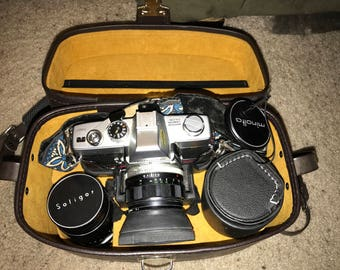 Minolta SRT-101 with 58mm Lens, 135mm Lens, Auto 2X Converter, Vivitar Flash, Carrying Case and More ! Vintage Camera . Antique Camera .