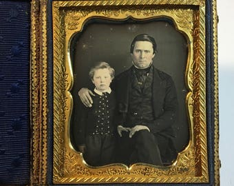 Wonderful Father-Son Daguerreotype, 19th Century Antique Photo in Beautiful Full Case
