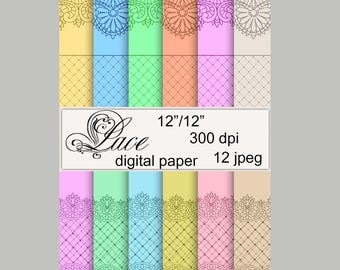 Lace Digital Paper Lace background colorful lace scrapbooking Instant download   pattern Lace