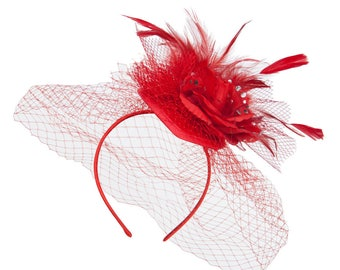 Polka Dot Flower Net Fascinator