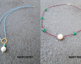 Freshwater pearl with handmade string necklace