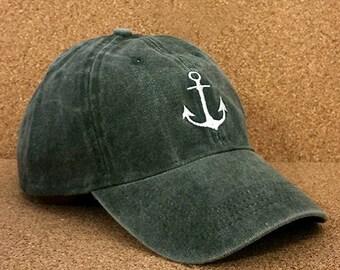 Nautical Anchor Baseball Cap (Olive Green)