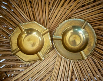 Vintage Brass Ashtrays - Set of 2