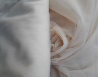 Light Champagne / Oyster color Soft silk tulle fabric  - almost 3 METERS WIDTH