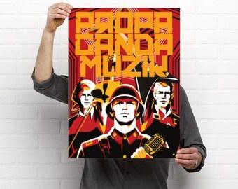Digital art print of vintage soviet propaganda, print of soviet propaganda, propaganda music,