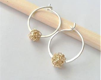Sterling Silver Hoop Earrings, Small Silver Hoops, Mix Metal Earrings, Everyday Earrings, Simple Earrings, Minimalist Earrings.