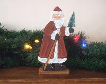 Hand painted wood Santa