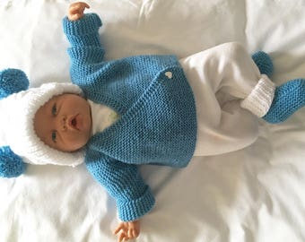 Jacket, hand knitted hat and booties set