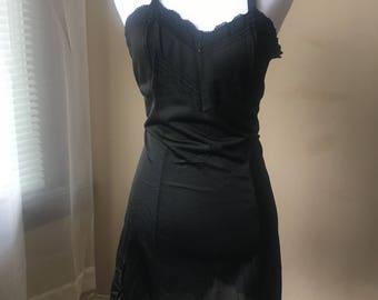 small / medium / vintage 60's / black lace negligee / lacy slip.