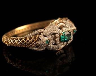 Gold Plated Silver Traditional Bracelet with Cz and Emerald