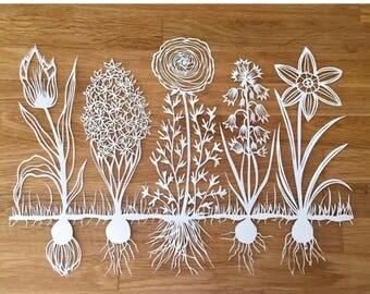 Spring Blooms 11x14 in Original Papercut