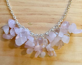 Genuine Rose Quartz Crystal Bohemian Necklace on a Silver Chain