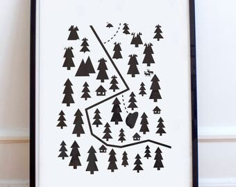 Scandinavian Winter Map, Scandi poster print- Minimalist, nordic, black and white, winter, high contrast, picture wall, skiing