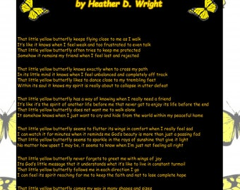 That Little Yellow Butterfly - Printable Poetry Instant Download