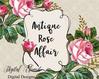 Rose Clip-art, Hand Painted Pink Rose Clip-art, Rose Graphics in Vintage, Shabby Pink Rose Graphics. No. WC92