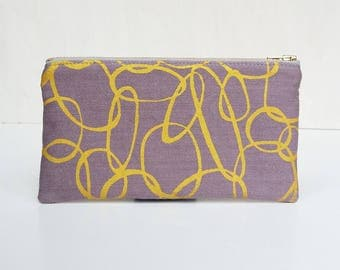 Handmade organic cotton cosmetics pouch purple / handbag organiser screen printed