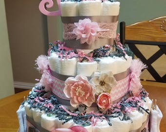 Diaper Cake - Pink and Grey