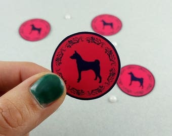 "Small sticker Set ""Basenji"" round"