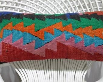 Designer Pillow,Unique Pillow,Couch Pillow,Turkish Kilim Pillow Kilim Pillow 10x20, Lumbar Kilim Pillow,Sofa Pillow,Geometric Pillow  861