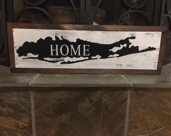 Framed Long Island sign   Long Island art   home sign   farmhouse style decor   22 1/4 x 7  