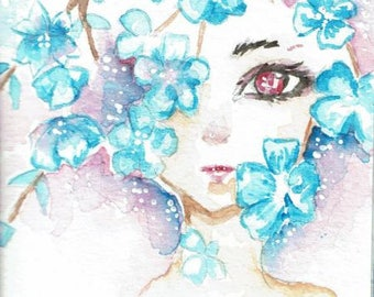 Edition print watercolor ACEO cocoa card blue Sakura fantasy portrait autographed