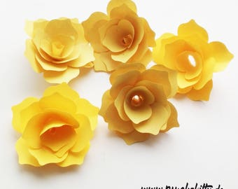30 paper rose yellow handmade paper roses wedding decoration treats ornaments 3D flowers