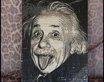 """Transfer image on wood """"Albert Einstein"""""""