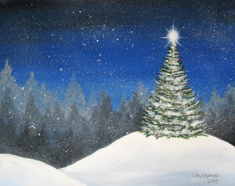 """Christmas Tree in the Snow painting,  handpainted acrylic on 16"""" x 20"""" stretched canvas"""