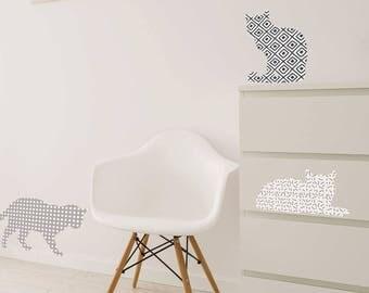 Grey cats, elegant wall decor stickers