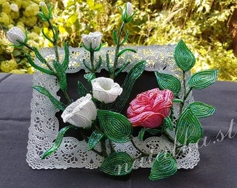 French Beaded Valentine's gift Picture in a Frame Decor Flowers