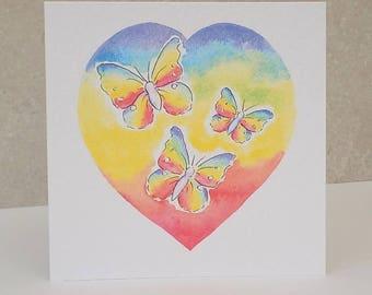 Rainbow Card, Rainbow Heart Card