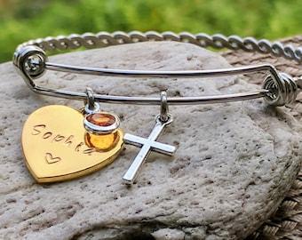 Gold heart bracelet, Heart name, Name bracelet gold, Heart charm bracelet, Faith bracelet, Christian jewelry, Christian bracelet