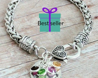 Personalized grandma gifts, Grandma bracelet, Gift for grandma, birthday gifts for grandma, birthstone bracelet, birthstone gifts