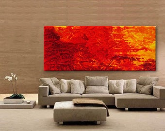 Abstract XXL Modern Art red orange extra large wall  canvas handpainted original minimalist art contemporary heavy texture
