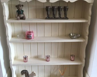 Shabby Chic, Distressed, Solid Wood Bookcase, hand painted clotted cream, waxed and sealed