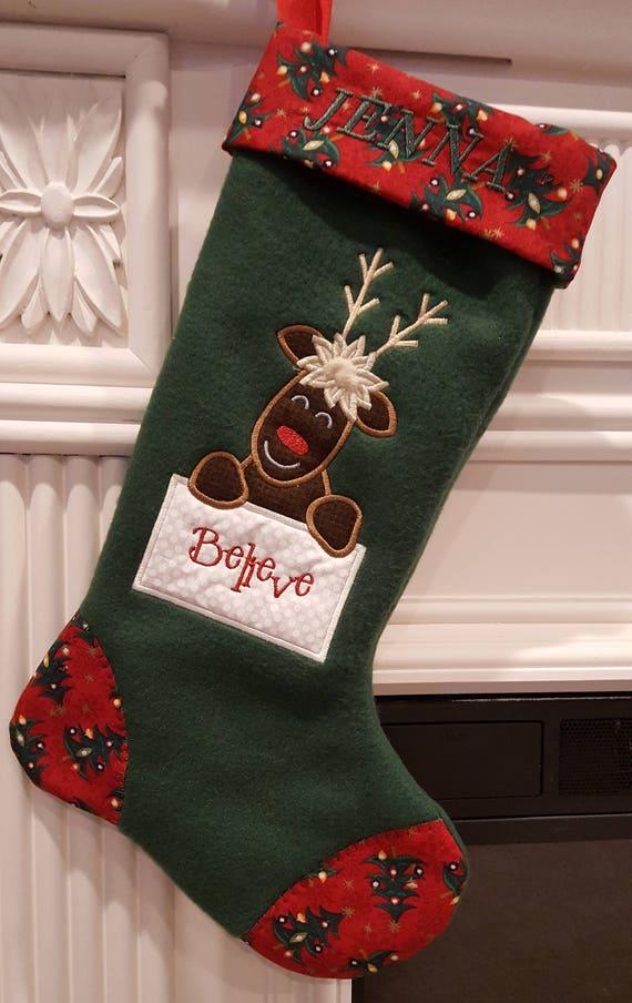 Moose christmas stocking believe in santa