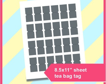 "Instant Download, Tea Bag Tag Template, PSD, PNG and SVG, Dxf Formats,  8.5x11"" sheet,  Printable 205"