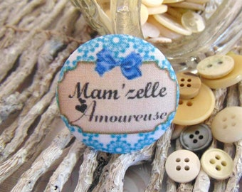 x 1 cabochon 28mm Mam fabric ' love Missy BOUT1