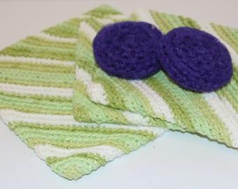 Crocheted Trivet, 2 Pot Holders and 2 Scrubbie Set Green/Purple