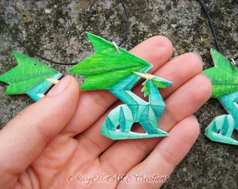 Crystal Dragon - Spyro the dragon wood necklace