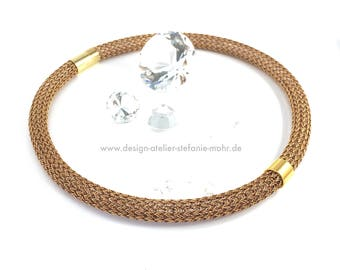 hand made tricolour double wire crochet necklace in brown/copper/gold pattern with magnetic clasp