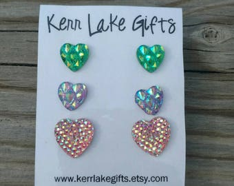 3 pairs HEART earrings studs, Nickel free plastic post earrings, Sparkly heart earrings, Earring set, Gift for her, Earring gift set