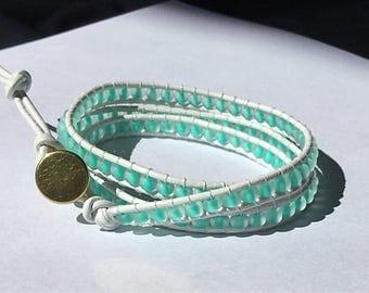 Beaded Wrap bracelet/leather wrap bracelet/leather beaded bracelet/ wrap bracelet
