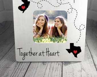 Personalized Picture Frame, Miles Apart, Together at Heart, Best friends Frame, Family Apart Frame, Long Distance Frame